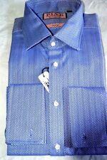 $195 NWT THOMAS PINK 15.5 Navy Blue Rug herringbone Prestige cotton dress shirt