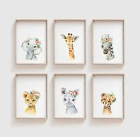 Watercolour Floral Baby Safari Animal Prints, Cute Nursery / Bedroom Art, Kids
