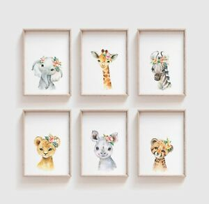 Watercolour Floral Baby Safari Animal Prints, Cute Nursery / Bedroom Art, Kids