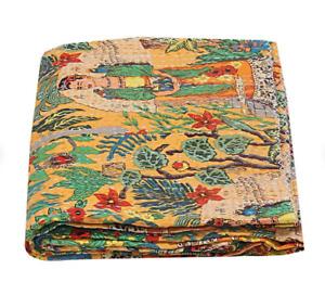 Yellow Cotton Kantha Quilt Women Print Handmade Kantha Blanket Bedding Bedspread