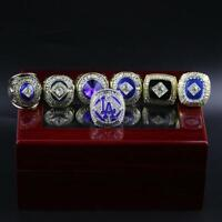 7Pcs Los Angeles Dodgers 2020 World Series Championship Rings Wooden DisplayCase