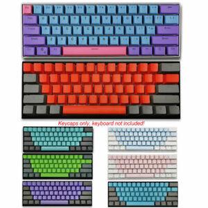 61 Keycaps Set PBT Double shot OEM Transparent Key Fit for Mechanical Keyboards