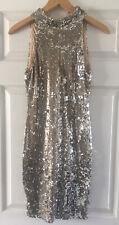 NEW Ladies TFNC Gold Sequin Halterneck Mini Dress - Size: UK Small / 8