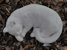 """Large Cement 15.5"""" Lying Sleeping Curled Cat Gorgeous Statue Concrete Meow"""
