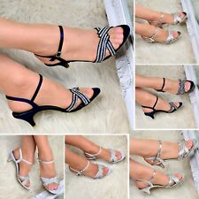 Ladies Diamante Ankle strap Party Sandals Shoe Low Mid Heel Evening Wedding Size