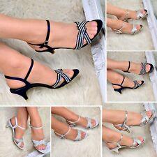 Señoras Diamante Correa De Tobillo Fiesta Sandalias Zapato Tacón Bajo De Noche Boda Tamaño Mediano