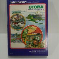 Intellivision Utopia 1981 video game original box cartridge x2 overlays manual