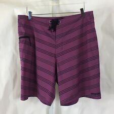 Patagonia Mens Board Shorts Swim Trunks Purple & Black Striped Size 35
