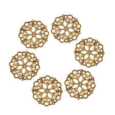 100 x Tibetan Style Antique Golden Filigree Joiners Flower Links 29x1mm Hole 2mm
