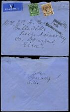 MALAYA STRAITS SETTLEMENTS 1939 CENSOR AIRMAIL 55c BUTTERWORTH PENANG to IRELAND