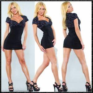 Mini Dress Marke SM-Design schwarz glam leopard grau Bolero 36 kurzes Kleid