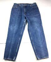 VTG Levi's Women's 550 Dark Wash Denim Tapered High Rise Mom Jeans Size 35x28
