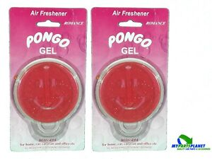 2 X Pongo Car Gel Air Freshener Pink Smiley Face Blossom Romance Scent
