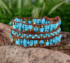 Natural Gemstone Beaded Wrap Bracelet Turquoise Seed Beads Leather Miss Matched