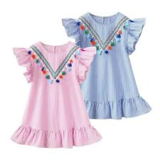 Summer Girls Tassel Flying Sleeve Dresses Stripe Kids O-Neck Tops Clothes