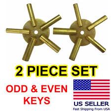 2 Pc Clock Winding Brass Key Set | Odd & Even | Universal Mantel | Free Shipping