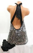 Victoria's Secret Sleep Pajamas Night Gown Panty sz Small Sequin Babydoll 2pc