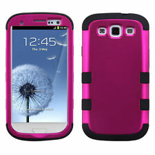 For Samsung Galaxy S III 3 Rubber IMPACT TUFF HYBRID Case Cover Rose Pink Black