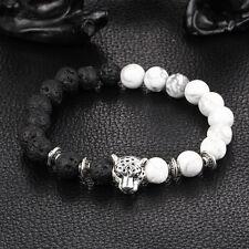 Fashion White Black Natural Stone Bead 8mm Tibet Lion Head Lucky Man Bracelet