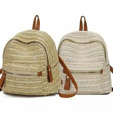 Straw Backpack Bag Women Shoulder Bohemian Rattan Woven School Leisure Travel