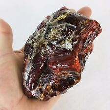 Red Glass Cullet Slag Faceted 3.5 x 5
