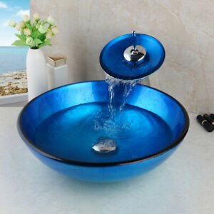 Blue Bathroom Countertop Mounted Tempered Glass Basin Sink Chrome Mixer Faucet