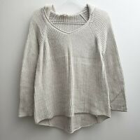 Eileen Fisher Pullover Sweater Hoodie Sz MED Solid Beige Loose Knit Cotton