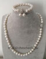 Echte kultivierte 9-10mm weiße Süßwasser Perlenkette 18 Zoll & Ohrringe Set
