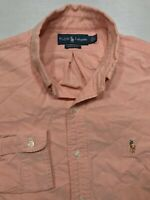 5282 POLO RALPH LAUREN Mens Large Button Up Down Shirt Custom Long Sleeve Pony
