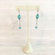 Heather Outlaw Earrings .925 Sterling Silver and Faceted Turquoise Dangle Drop