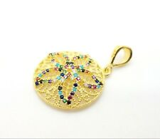 GOLD PLATED 925 STERLING SILVER HANDMADE MULTI COLOR TOPAZ WOMEN'S PENDANT USA