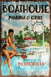 Boathouse Marina Restaurant Advert Vintage Look Retro Style Metal Sign boat lake