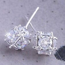 Shiny 14K White Gold Filled Cute Crystal Womens Megic Ball small Stud earrings