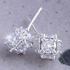 Vintage Shiny 14K White Gold Filled Lucky CZ Womens Megic Ball small Stud earing