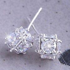 Vintage Shiny 14K White Gold Filled crystal Crystal Megic Ball Stud earing