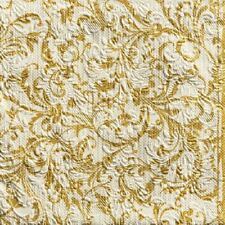 "GOLD FLORAL DAMASK CHRISTMAS EMBOSSED 13x13"" 33X33CM 15X 3 PLY PAPER NAPKINS"