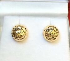 18k Solid Yellow Gold lady Half Balls 8mm Stud Earrings, Diamond Cut 1.45 Grams