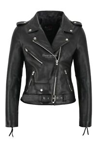 Ladies Biker Leather Jacket Black Cowhide Leather Women Perfecto Classic Jacket