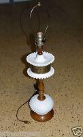 513/ Vintage White Milk Glass Hobnail Lamp ~ Brass / Wood Unusual Design ~ NR