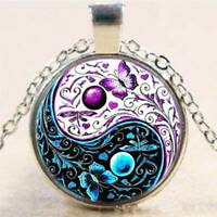 Necklace Butterfly Photo Tibet Silver Cabochon Glass Pendant Chain Necklace