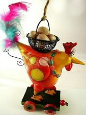 Vintage WHIMSICAL CHICKEN ON WHEELS Ornament - unused outstanding store stock!