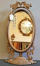 NEW French Shabby Chic Dressing Rustic Table Top OVAL Swivel Metal Stand Mirror
