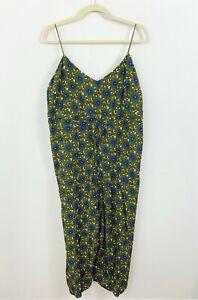 REVEUSE Green Floral Jumpsuit Plus Size 1X Tie Waist Spaghetti Straps Wide Leg