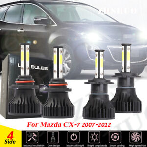 9005 H7 LED Headlight Bulbs Hi/Low Beam Combo Kit For Mazda CX-7 2007-2012