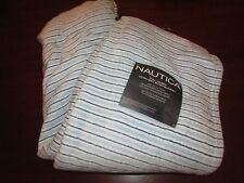nautica full/queen ultra soft plush blanket 90x90 new blue stripes