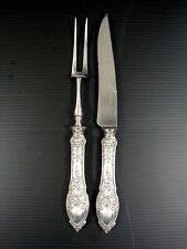French Antique Sterling Silver Meat Carving Set Renaissance Mascarons Dolphins