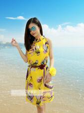 124 Korean Women's Fashion Floral Print Chiffon Sleeveless Beach Dress1