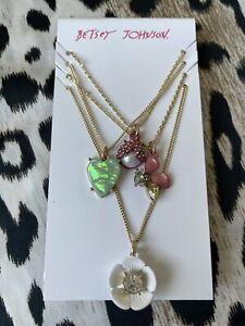 Betsey Johnson Opulent Floral Opal Heart Bug Bee Flower 4 Piece Necklace Set