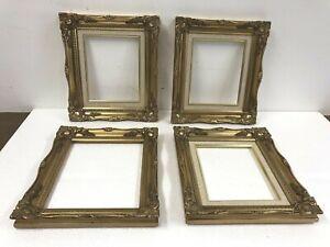 4 Vintage PICTURE FRAME SET gold wood victorian antique ornate gesso art 8 x 10