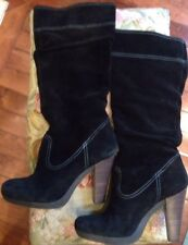 Michael Kors Black Swede 4 1/4 Inch Heel Slouch Boots Size 9 Excellent Condition